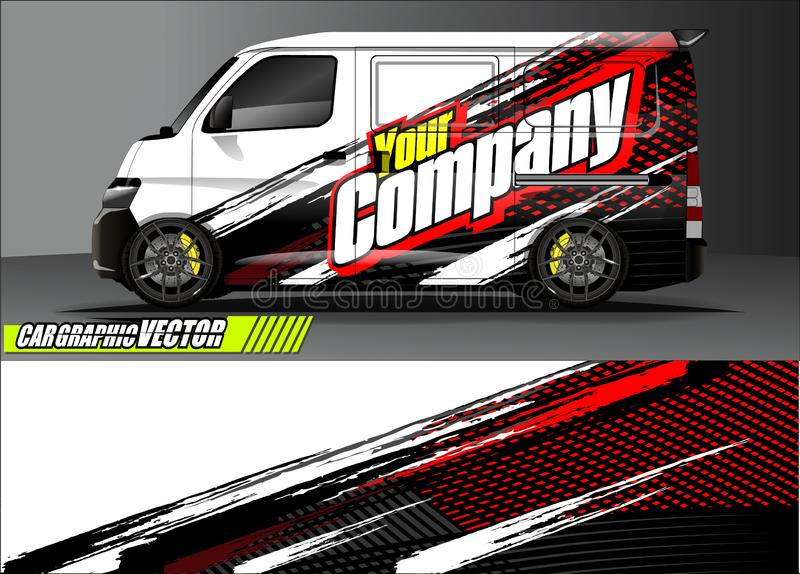 Van livery graphic vector. abstract grunge background design for vehicle vinyl wrap and car branding. Vehicle livery graphic vector. abstract grunge background stock illustration
