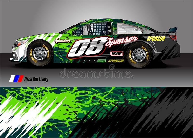 Van livery graphic vector. abstract grunge background design for vehicle vinyl wrap and car branding stock illustration