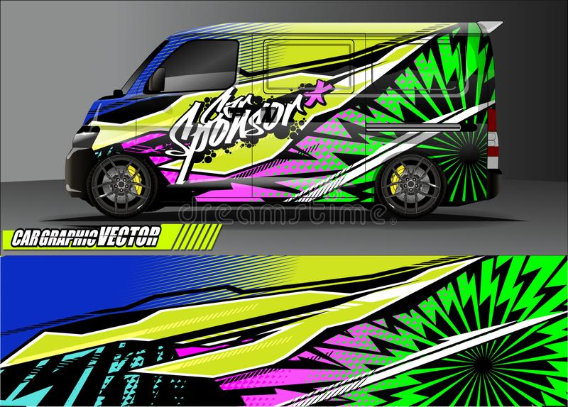 Van livery graphic vector. abstract grunge background design for vehicle vinyl wrap and car branding royalty free stock photography
