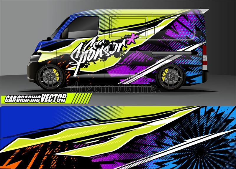 Van livery graphic vector. abstract grunge background design for vehicle vinyl wrap and car branding royalty free stock photo