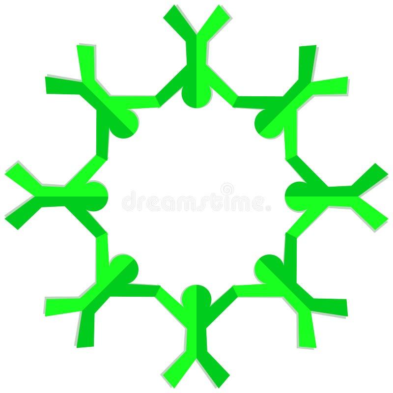Van los niños verdes que llevan a cabo el marco redondo de las manos libre illustration