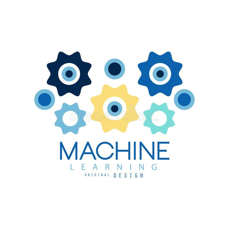 Van machine leerproces en gegevens het symbool van de wetenschapstechnologie Kunstmatige intelligentie Gekleurd geometrisch picto vector illustratie