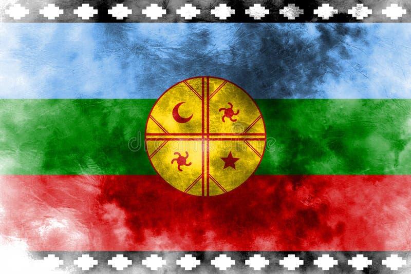 Van van Mapuche grunge vlag, Chili en Argentinië afhankelijk FL van het grondgebied vector illustratie