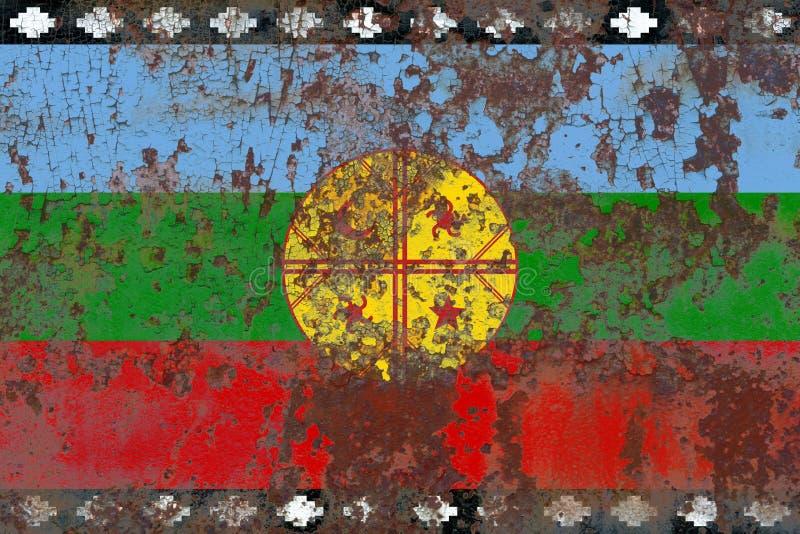 Van van Mapuche grunge vlag, Chili en Argentinië afhankelijk FL van het grondgebied stock illustratie