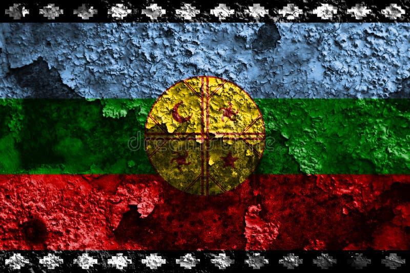 Van van Mapuche grunge vlag, Chili en Argentinië afhankelijk FL van het grondgebied royalty-vrije illustratie