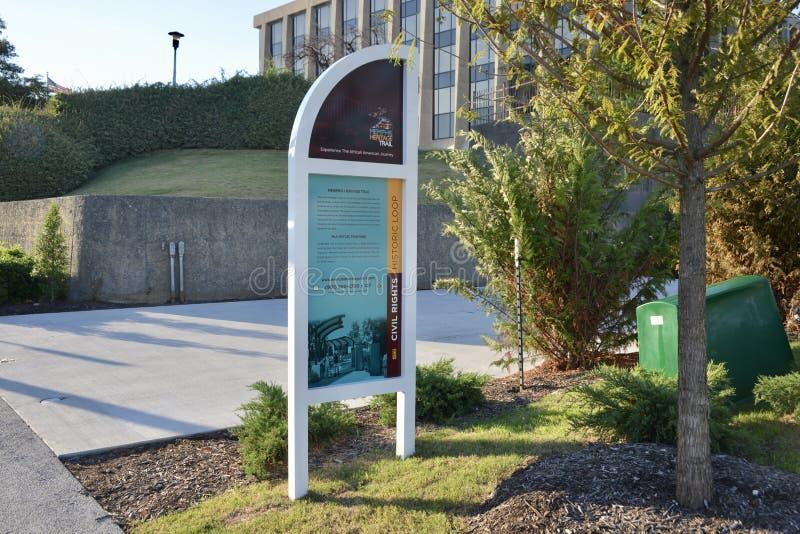 van Martin Luther King Het Tentoongestelde voorwerp Memphis, Tennessee van het bezinningspark stock afbeelding