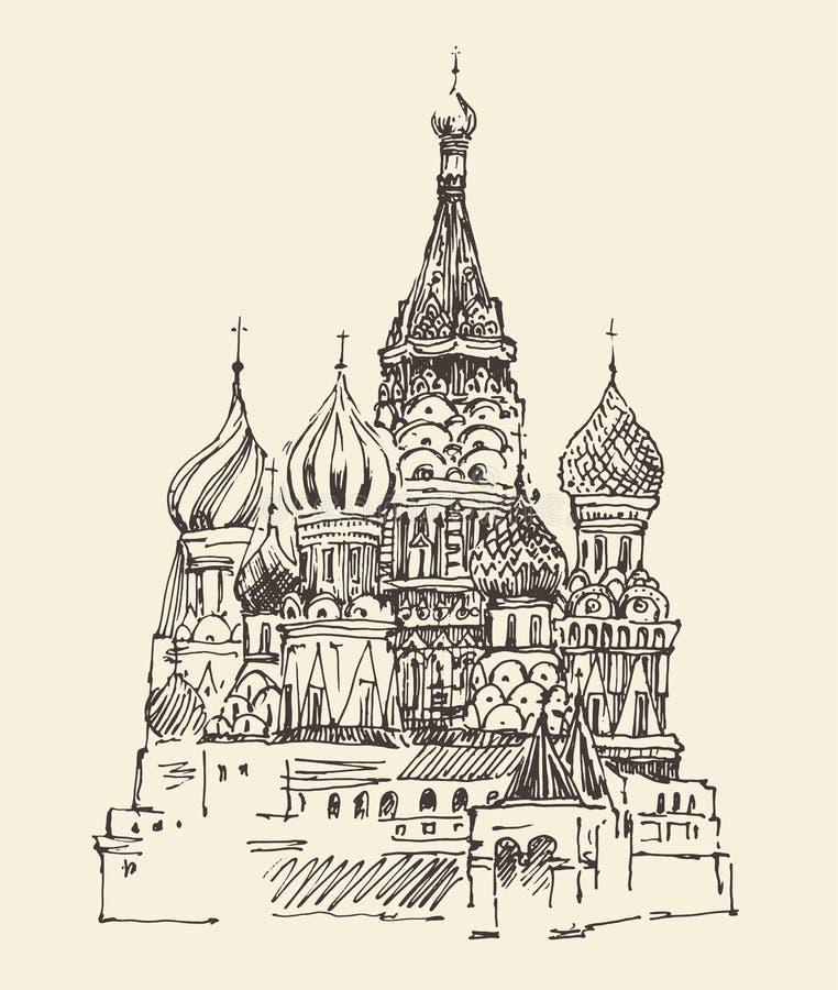 Van Moskou (Kathedraal van Vasily Heilig) de de stadsarchitectuur, wijnoogst graveerde illustratie vector illustratie
