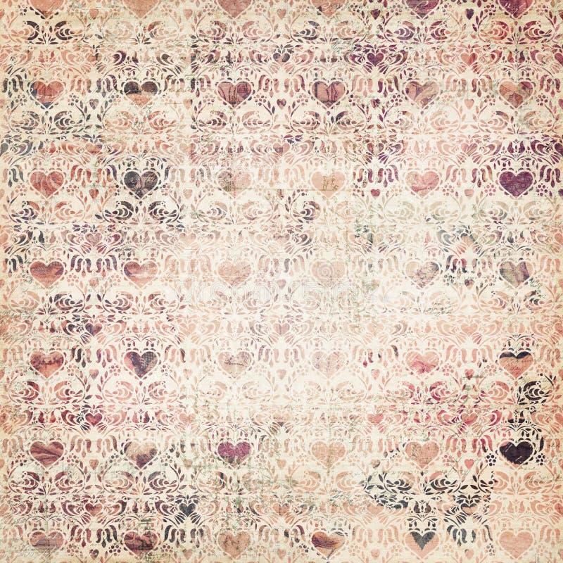 Van mulit-kleur het decoratieve patroon hartvalentijnskaarten royalty-vrije stock fotografie