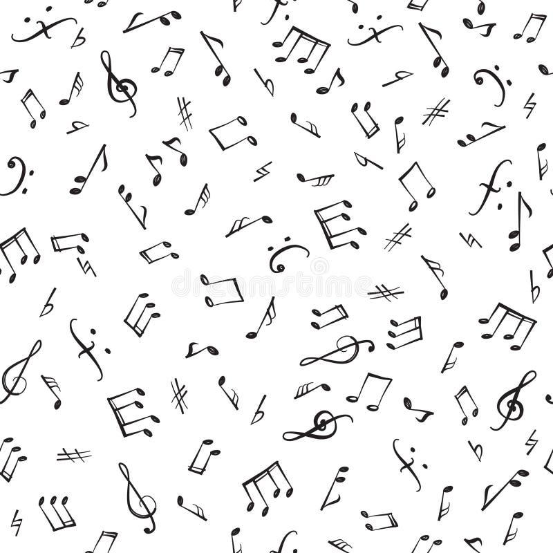 Van muzieknota's en elementen naadloos patroon Musical die backgr betegelen stock illustratie