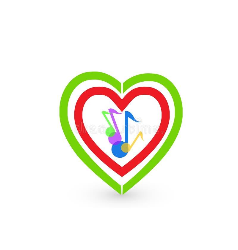 Van muzieknota's en harten embleemsymbool vector illustratie