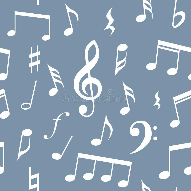 Van muzieknota's en symbolen naadloos patroonontwerp Volledig editable vul en achtergrondkleur, Blauwe achtergrond en witte nota' vector illustratie
