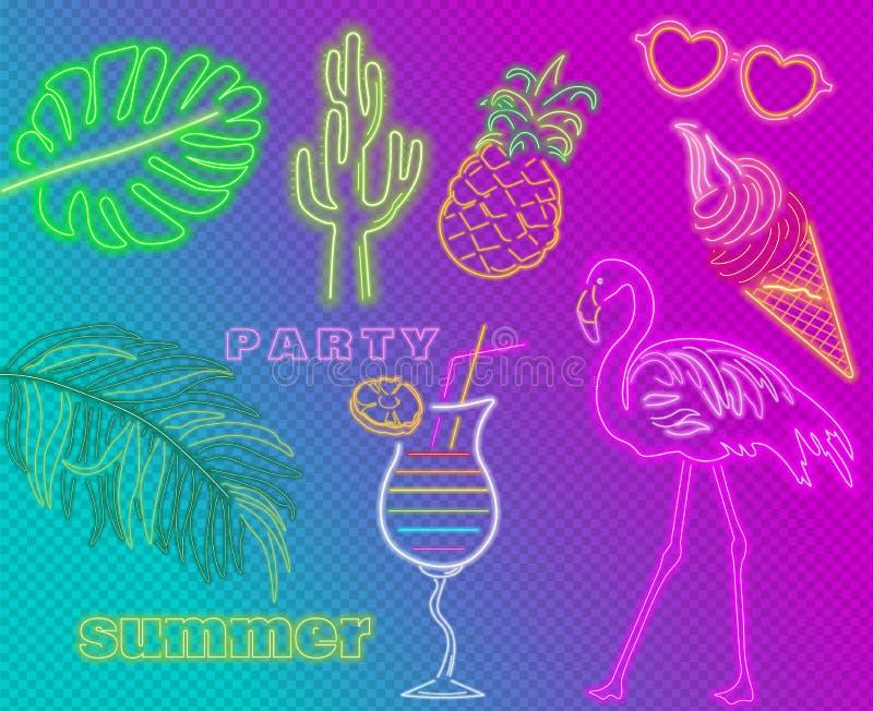 Van van neonflamingo, cocktails en palmbladen Vector van de de zomer de tropische banner De afficheetiket van de nachtclub Helder vector illustratie