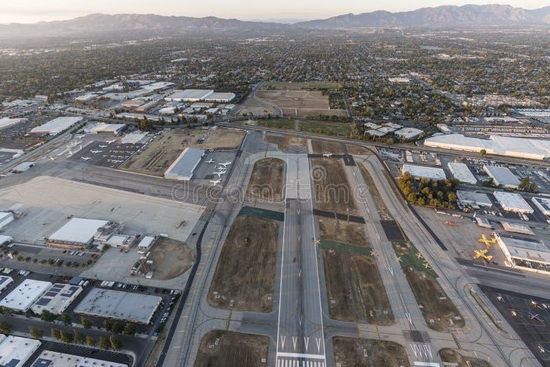 Van Nuys Airport Dusk Aerial fotografia stock