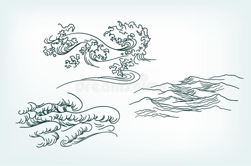Van overzeese de Japanse golven ontwerpelementen in traditionele stijl stock illustratie