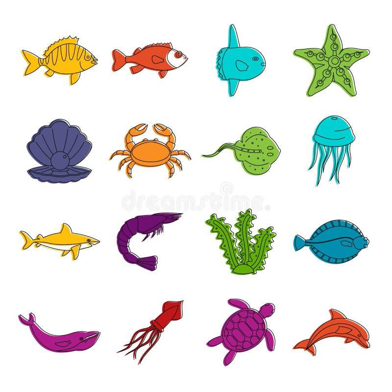 Van overzeese de krabbelreeks dierenpictogrammen vector illustratie