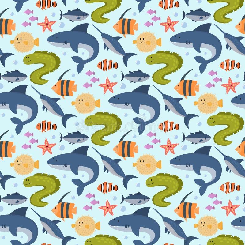 Van overzeese van het de karaktersbeeldverhaal dieren vectorschepselen van het het wild mariene onderwateraquarium oceaan van het royalty-vrije illustratie