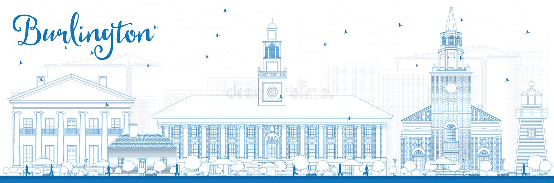 Van overzichtsburlington (Vermont) de Stadshorizon met Blauwe Gebouwen stock illustratie