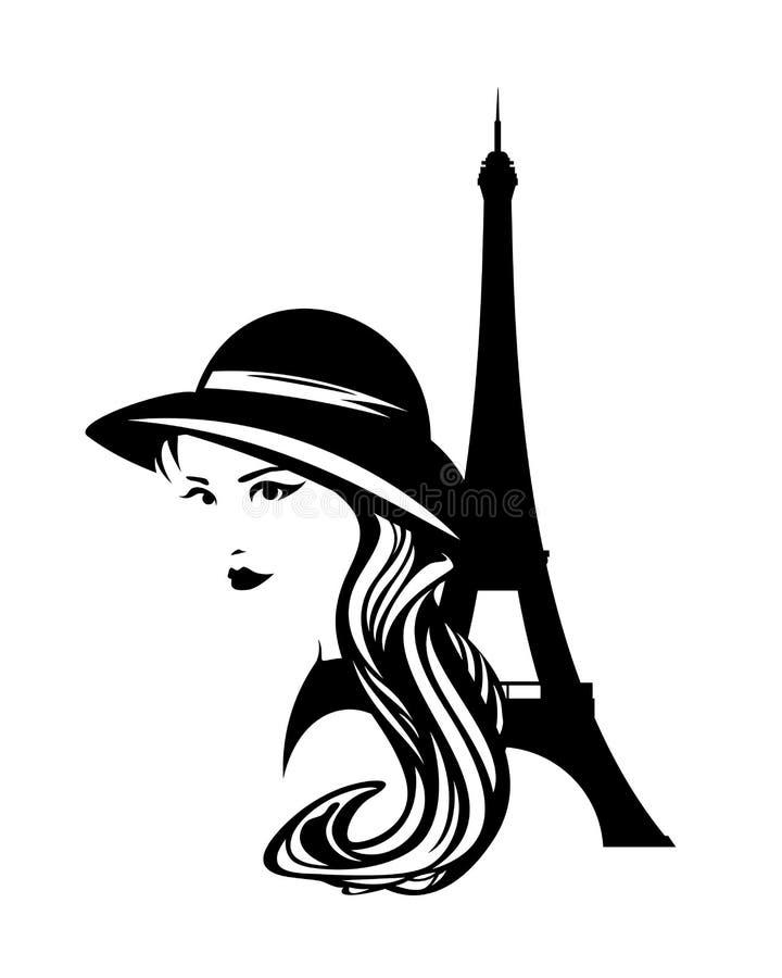Van Parijs de vrouw en van Eiffel toren vectorportret stock illustratie