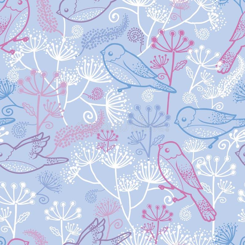 Van pastelkleurvogels en bloemen naadloos patroon vector illustratie
