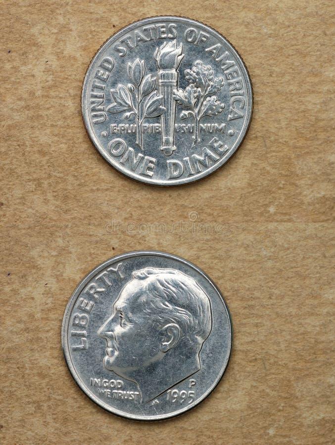 Van reeks: muntstukken van wereld. Amerika. ÉÉN DIME. stock foto's