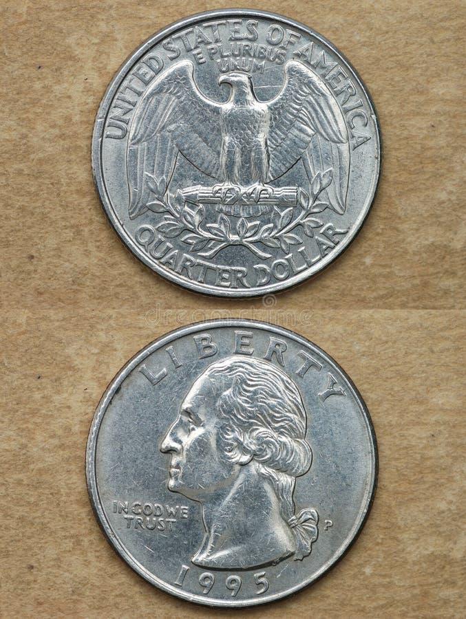Van reeks: muntstukken van wereld. Amerika. DE DOLLAR VAN HET KWART. stock afbeeldingen