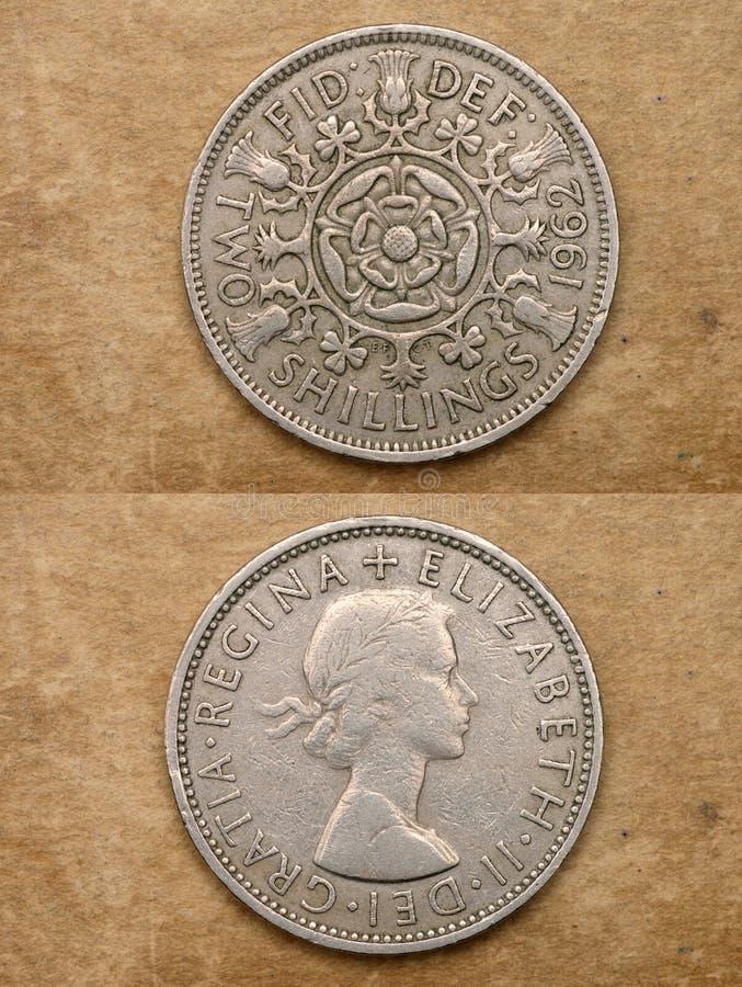Van reeks: muntstukken van wereld. Engeland. TWEE SHILLINGEN. royalty-vrije stock fotografie