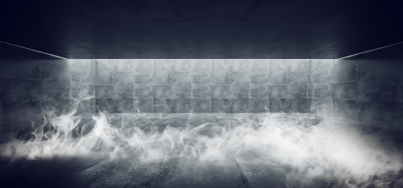 Van rooksc.i het Moderne Minimalistic Ondergrondse Concrete Cement Grunge Hall Room Corridor Room Garage van FI met Dwars Gevormd royalty-vrije illustratie