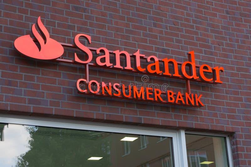 Van Santander het Bankembleem Van de consument stock afbeelding