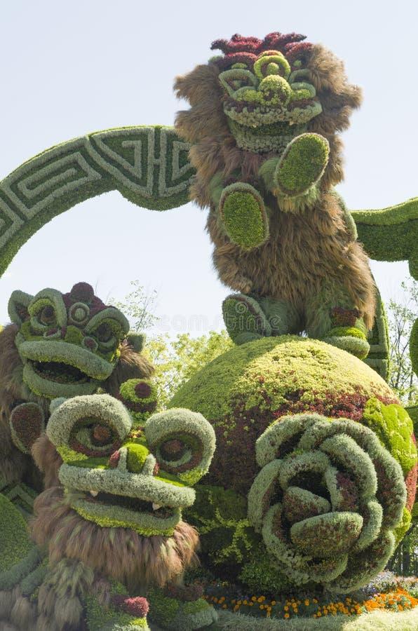 Van Shanghai: Blije Viering van de Negen Leeuwen stock foto's