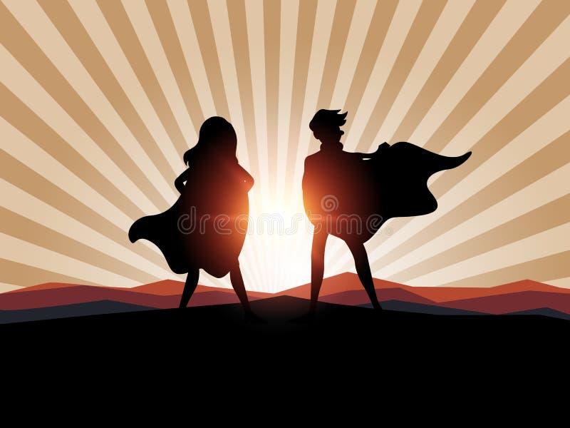 Van silhouetman en vrouwen superhero met zonlicht stock illustratie