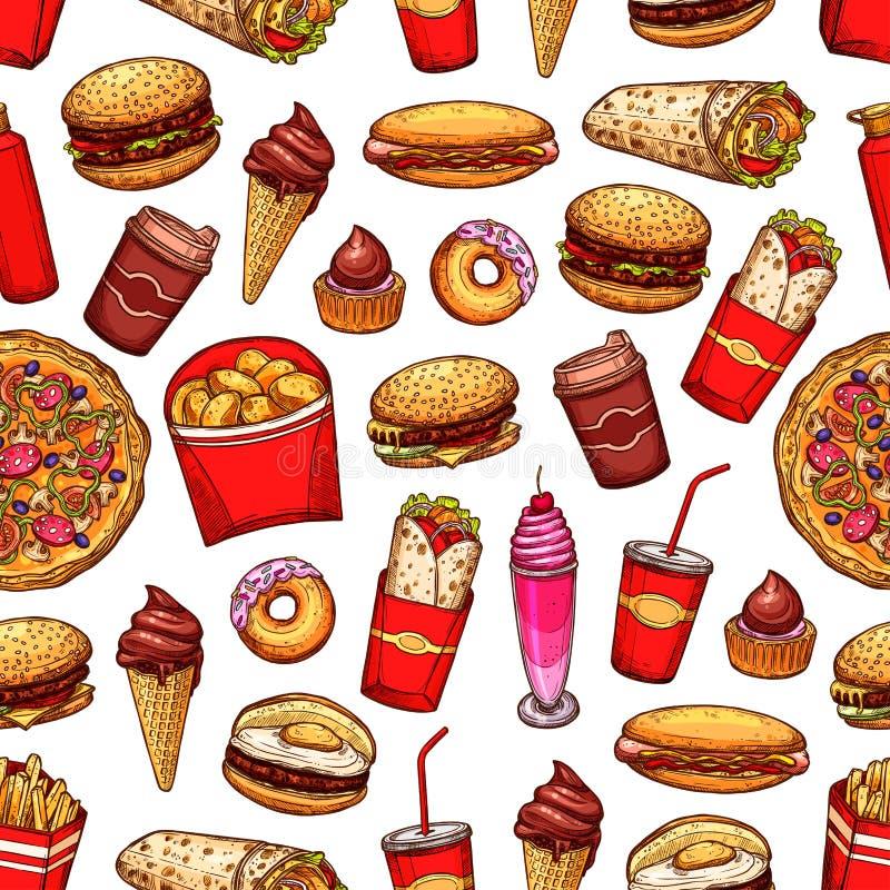 Van snel voedselsnacks en desserts naadloos patroon stock illustratie