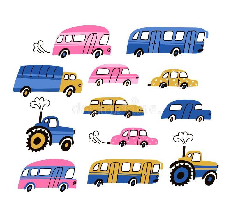 Van stadsauto's en voertuigen geplaatste vervoer vector vlakke pictogrammen Het autovoertuig, publiceert vervoer en tractor op wi vector illustratie