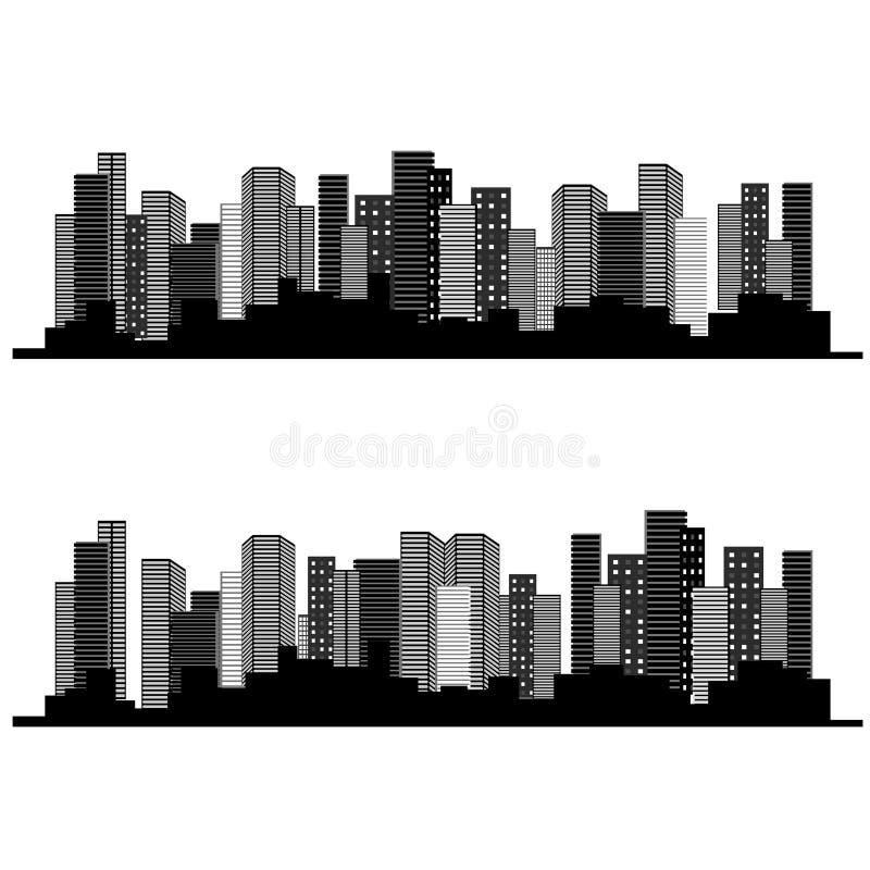 Van stedelijke cityscape, symbool van bedrijfsgebouwen, onroerende goederen verkoop en huur royalty-vrije illustratie