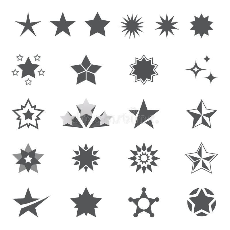 Van sterpictogrammen en emblemen inzameling stock illustratie