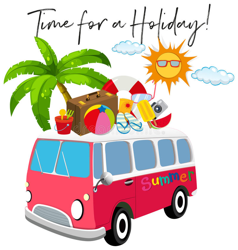 Van with summer item and phrase time for holidays vector illustration