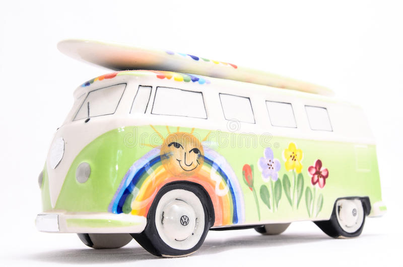 Van with a surf board stock images