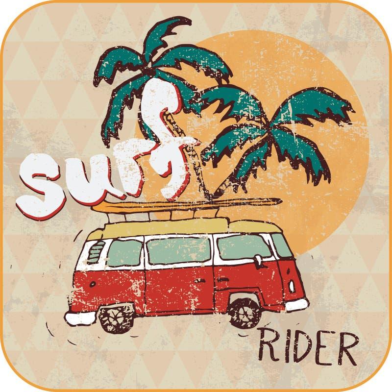 Van Surf Illustration, gráficos do t-shirt ilustração stock