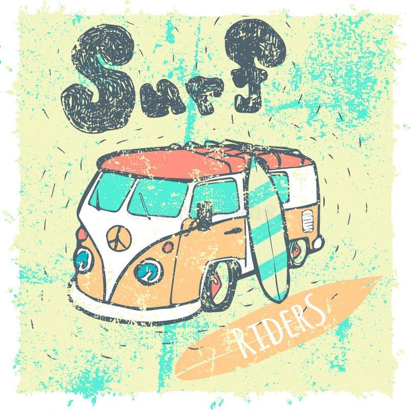 Van Surf Illustration, gráficos do t-shirt, vetores ilustração do vetor