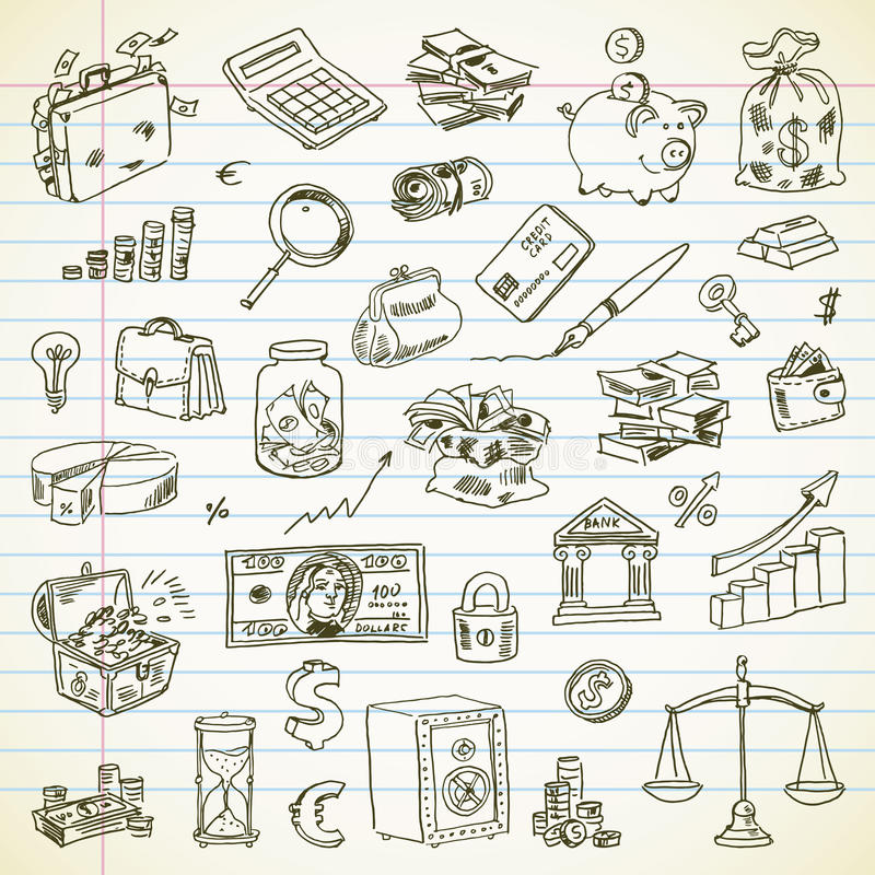 Van tekenings Bedrijfs en Financiën punten uit de vrije hand vector illustratie