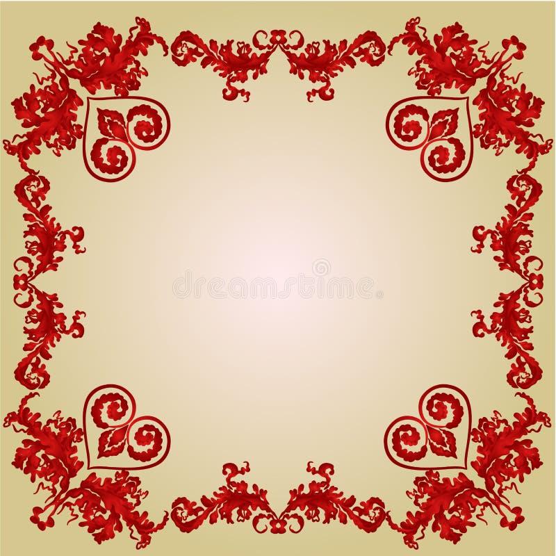 Van valentijnskaartenharten en ornamenten uitstekende kadervector royalty-vrije illustratie
