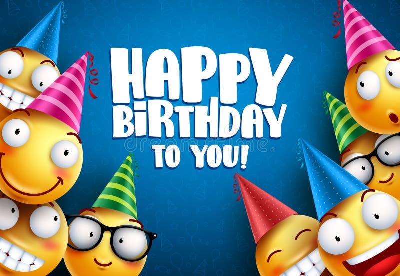 Van verjaardags smileys vectorgroeten ontwerp als achtergrond Gele emoticons royalty-vrije illustratie