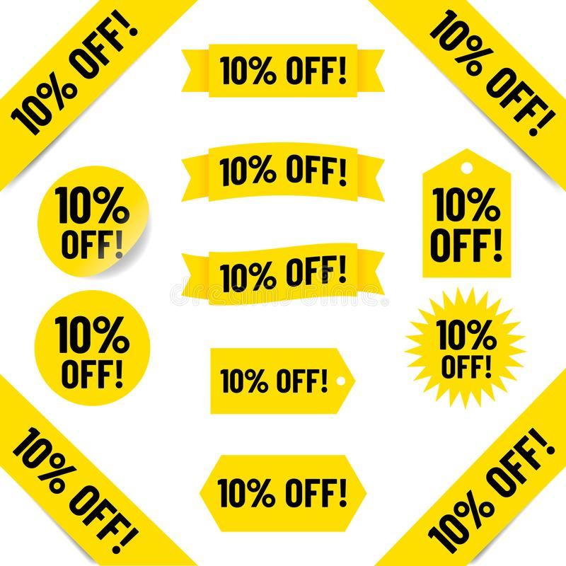 10% van verkoopmarkeringen vector illustratie