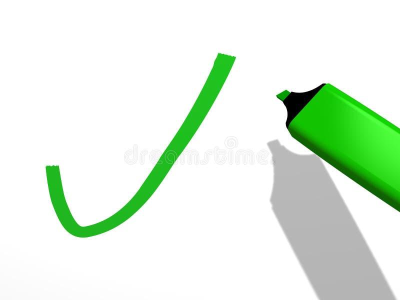 Van vid attraktion för grön pennmarkör en godkännandefläck på en vit bakgrund vektor illustrationer