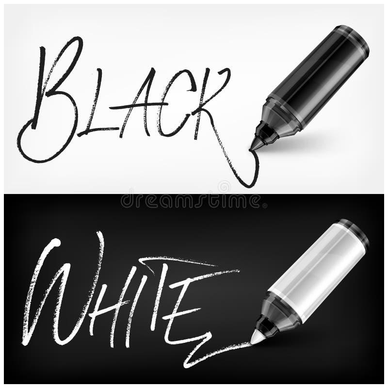 Van vilten gekrabbeld het type uiteindepen zwart wit Vector illustratie royalty-vrije stock afbeelding