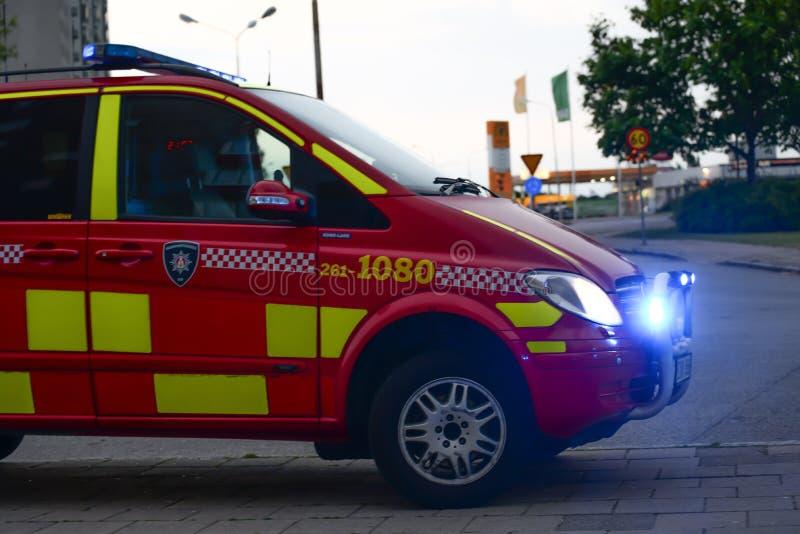 Van von schwedischen Feuerwehrmännern lizenzfreie stockbilder