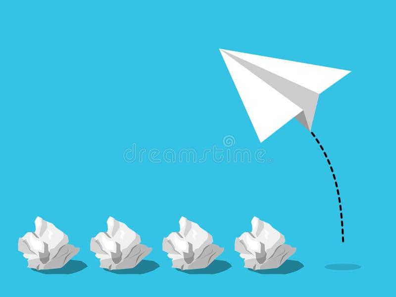 Van voorlopige samengedane document geboren ballen een nieuw succesvol die idee door vliegtuig of vliegtuigdocument te vliegen wo vector illustratie