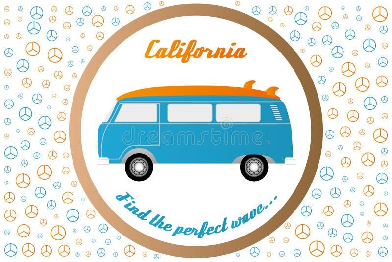 Van vredestekens en surfers bestelwagen - geïsoleerde illustratie op wit vector illustratie