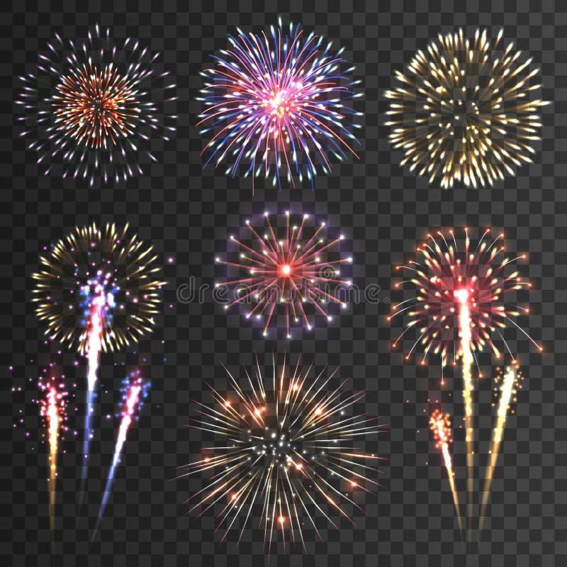 Van vuurwerkpictogrammen zwarte reeks als achtergrond vector illustratie