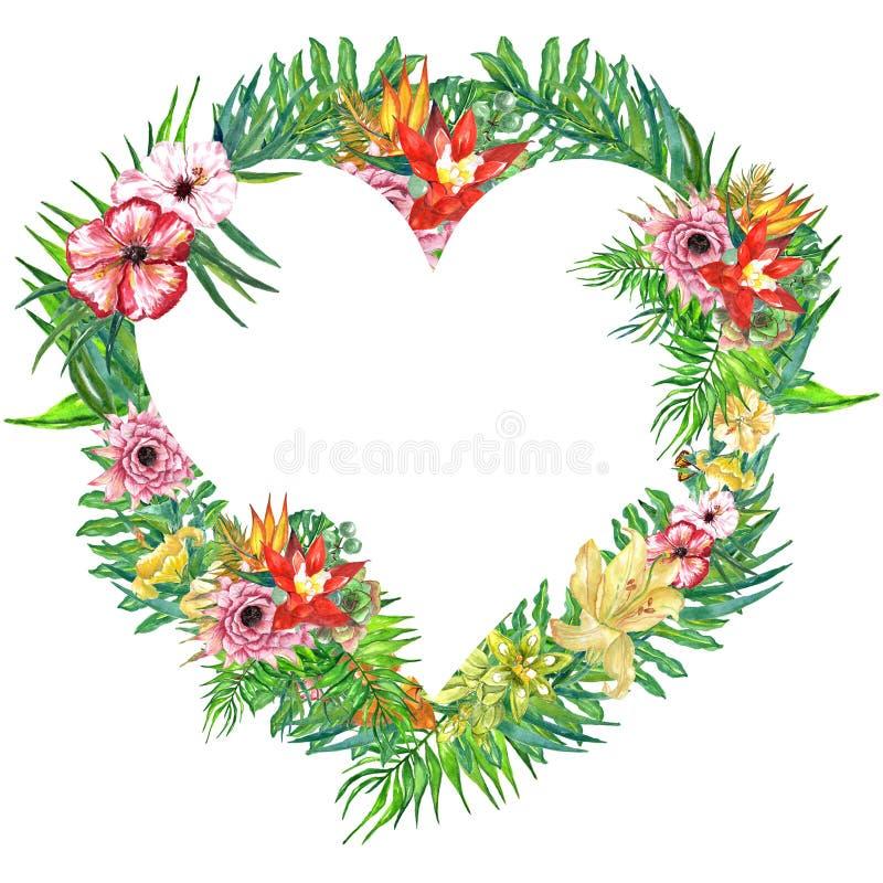 Van waterverf tropische bladeren en bloemen kroon! Waterverf exotische bloemenkaart Hand geschilderd tropisch kader met palmblade vector illustratie