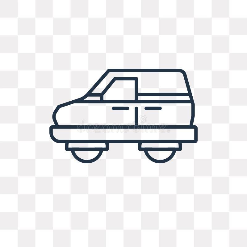 Van Wektor ikona odizolowywająca na przejrzystym tle, liniowy Van T ilustracja wektor